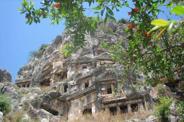Alte Felsenwohnungen Auf Der Wanderreise Türkei Lykien