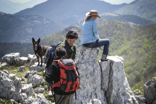Auf Dem Gipfel Bei Der Wanderreise Cilento