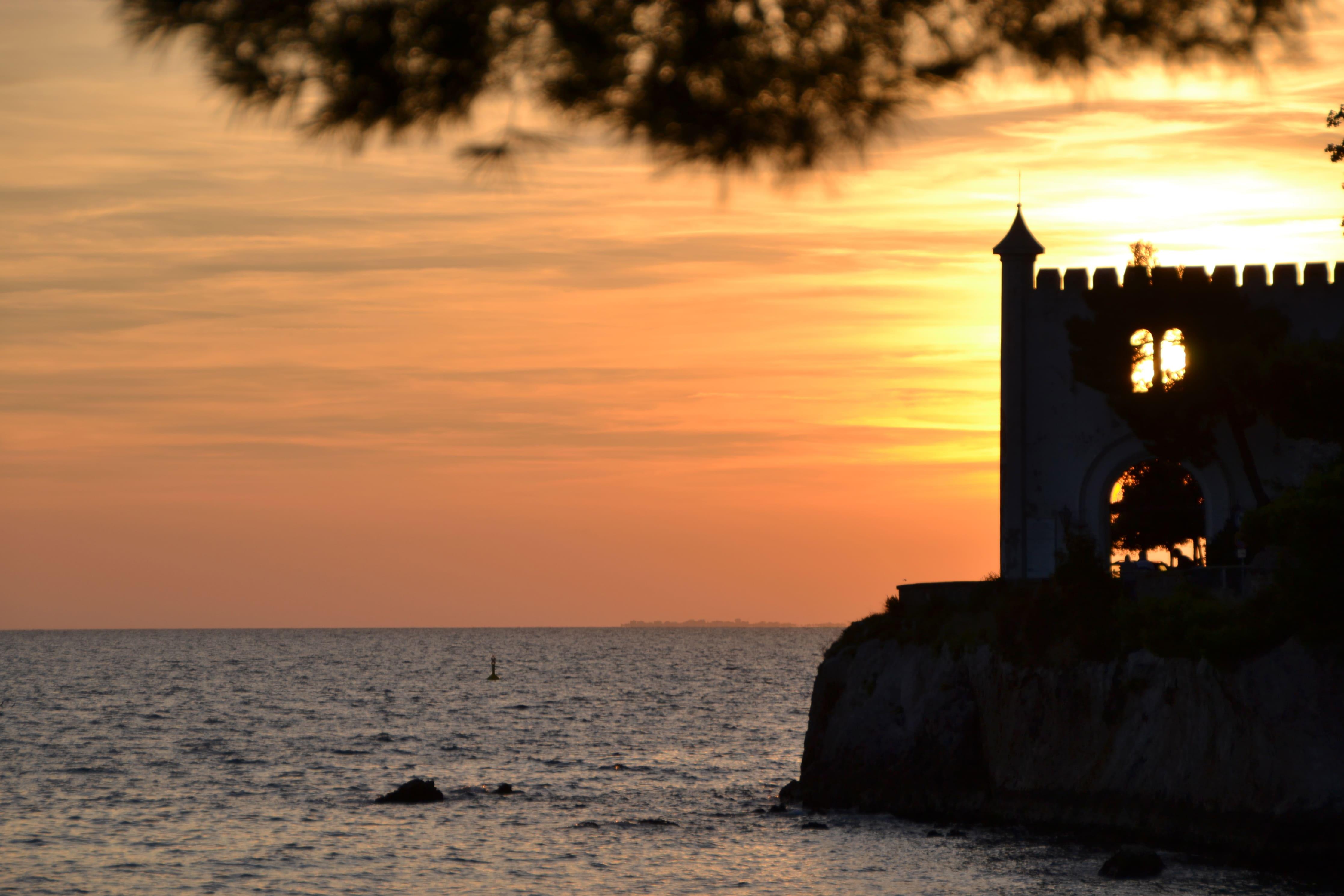 Sonnenuntergang Am Golf Von Triest