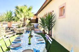 geführte Wanderreise Kanaren Ferienhaus mit gedecktem Tisch