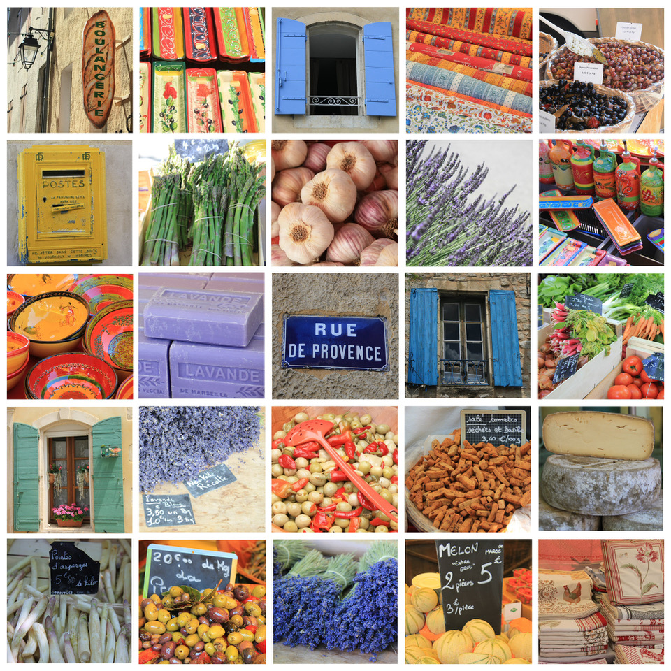 Collection verschiedener Bilder der Provence
